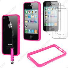 Housse Coque Etui Bumper Rose Apple iPhone 4S 4 + Mini Stylet + 3 Film écran