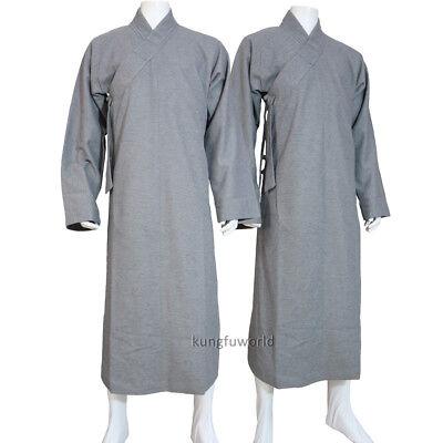 Shaolin Buddhist Monk Winter Robe Meditation Suit Long Gown Woolen High Quality