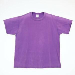 Vtg-Sun-Faded-Distressed-JERZEEZ-Plain-Purple-T-Shirt-Grunge-Skate-Surf-USA-L