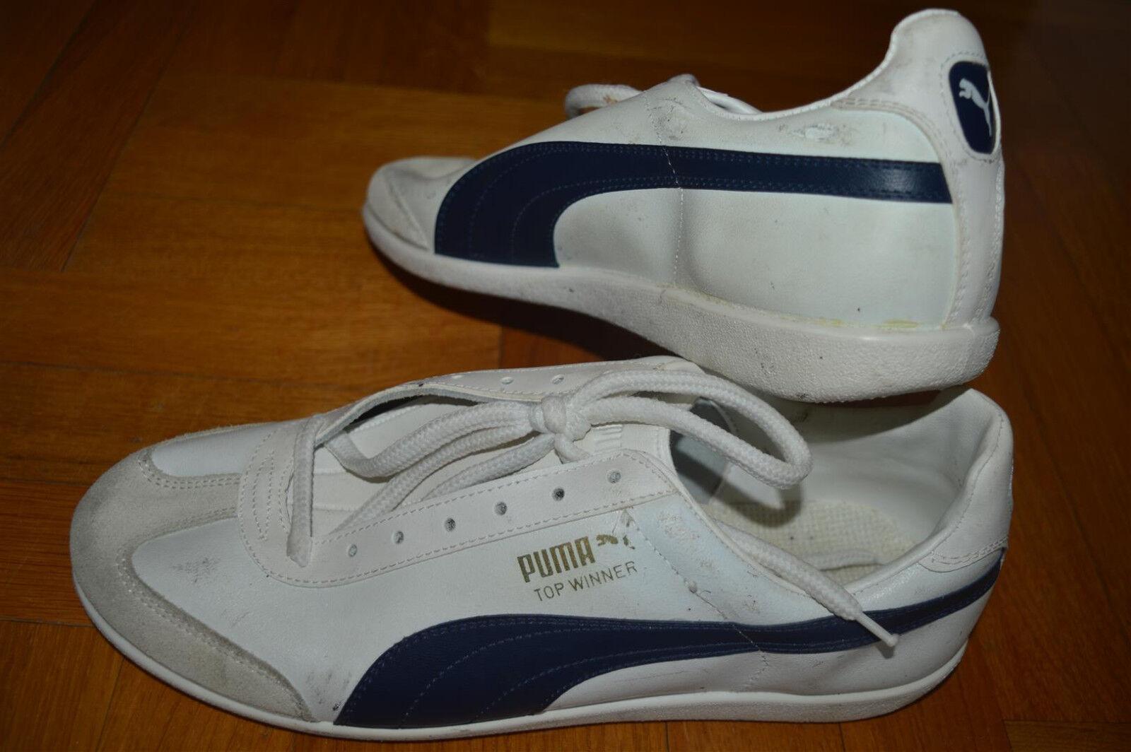 Vtg PUMA TOP WINNER Trainers  80s White White 80s Blue Uomo NOS Deadstock 7d13bc