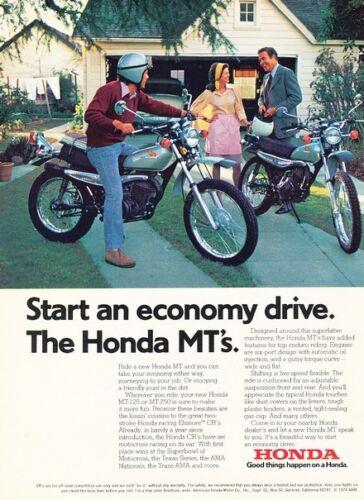 1974 Honda Motorcycle MT MT125 MT250 Original Advertisement Print Art Ad D54