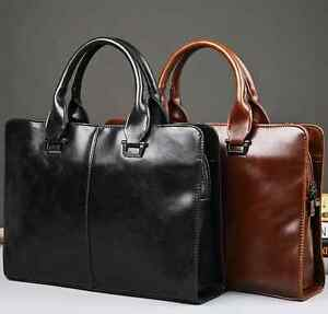 Men Women Leather Business Handbag Shoulder Messenger 14'' Laptop Bag Briefcase