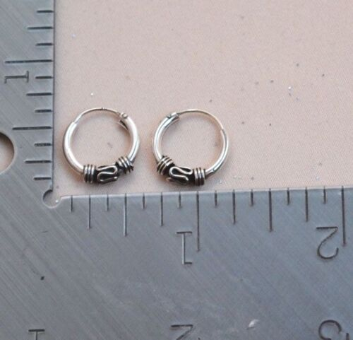 Small Endless Bali Style Hoops Round SEE Chart All Sterling Silver.925 #15
