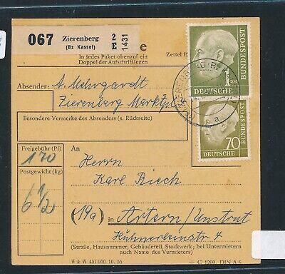 30639) Heuss Paketkarte Mif 170pf Ab Zierenberg (bz Kassel)