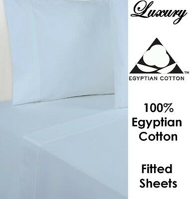 100% Egyptian Cotton Luxury Percale Fitted Sheet 200 TC All Sizes White & Cream