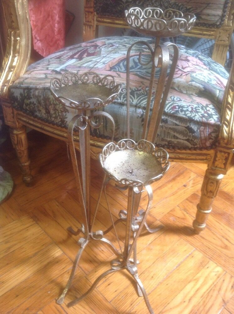 VINTAGE STYLE TALL FRENCH gold GILT CANDLE HOLDERS SET OF 3