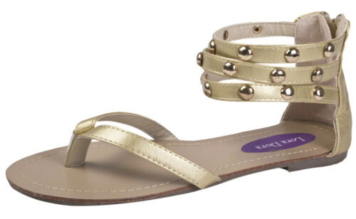 Womens Studded Gladiator Sandals Ladies Strappy Flat Summer Beach Shoes Size