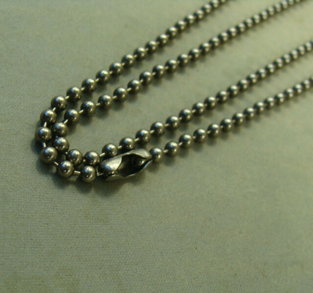 """23.6/"""" Pure Titanium Military Army 2.4mm ball bead chain necklace anti-allergy"""