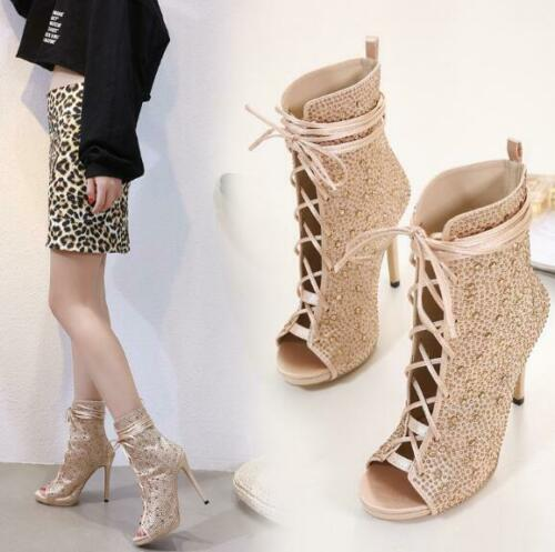 Womens Rhinestones Open Toe Lace Up Ankle Boots High Heels Sandals Stilettos H56