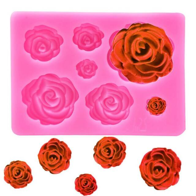 3D Rose Flower Shaped Silicone Mold DIY Fondant Chocolate Kitchen Baking Tools