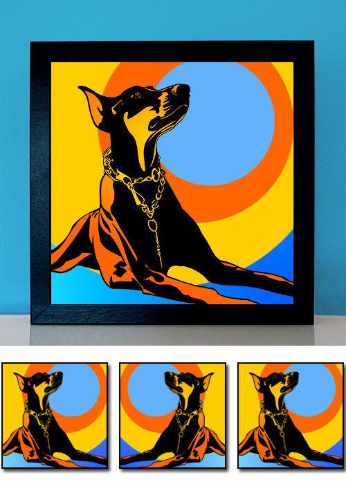 Dobermann gelb POP ART Hunde Bilder auf Leinwand Poster Retro-Style Geschenkidee