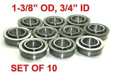 "QTY. 10, FLANGED BEARINGS 1-3/8"" OD, 3/4"" ID, GO KARTS, BUFFERS, CARTS, DOLLIES!"