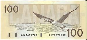 Bank-of-Canada-1988-100-Hundred-Dollars-Banknote-Thiessen-Crow-AJV-Prefix-UNC