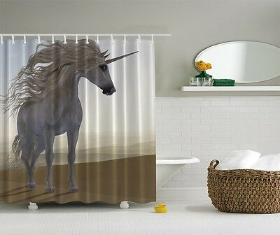 Majestic Unicorn Photographic Fabric Shower Curtain Horse Western Bath Decor