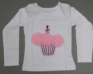 bambine-maniche-lunghe-Maglietta-Cup-Cake-Tutu-BIANCO-ROSA-BAMBINO-DEL-BAMBINO