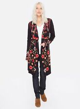 Johhny Was Biya Jousth embroidered draped sweater coat wrap  NWT L $416.00 black
