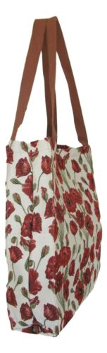Details about  /Poppy Flower Gusset Bag Tapestry Eco Foldable