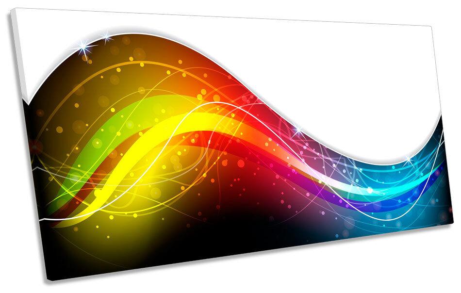 Abstract Rainbow Wave PANORAMIC CANVAS WALL ART Box Frame