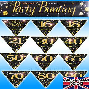 Birthday-Bunting-Flags-Black-Gold-Fizz-Banner-Age-16-18-21-30-40-50-60-70-80-90