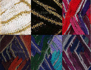 KFI-Broadway-Metallic-Ruffle-Scarf-Trim-Yarn-100g-Color-Choice-Knit-Crochet-FS