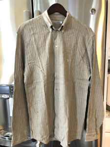 Armani-button-down-Cotton-and-Linen-Men-039-s-casual-long-sleeve-shirt-Size-M