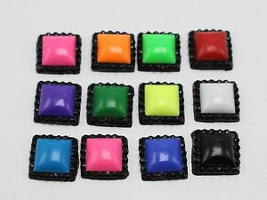 100-Mixed-Enamel-Color-Dotted-Rhinestone-Flatback-Acrylic-Square-Cabochons-12mm