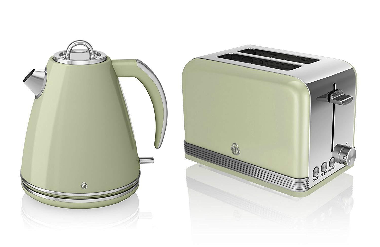 Nouveau Cygne Cuisine Appliance Rétro 1.5 L vert pot Bouilloire et Grille-Pain 2 Fentes Set