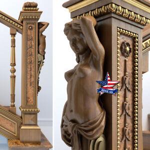 Sculpture-Angel-Girl-for-stairs-Wood-Carved-statue-figure-pillar-column-artwork