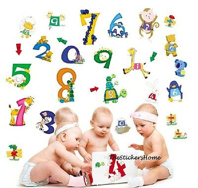 Animal NUMBERS Wall Stickers Kids Room Nursery Reusable Decor Early learning