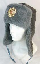 Russian Army Winter Fur Hat Ushanka Imperial Eagle Badge 56 Small Original 90's