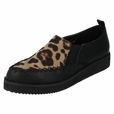 Spot On f9586 Mujer Negro Leopardo Piel Sintética Microfibra Zapato bajo (32a)