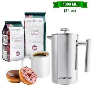 Stainless-Steel-French-Press-Coffee-Maker-Double-Wall-Insulation-Coffee-amp-Tea