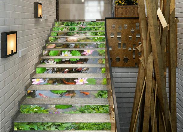 3D Lotus Pool 933 Stair Risers Dekoration Fototapete Vinyl Aufkleber Tapete DE