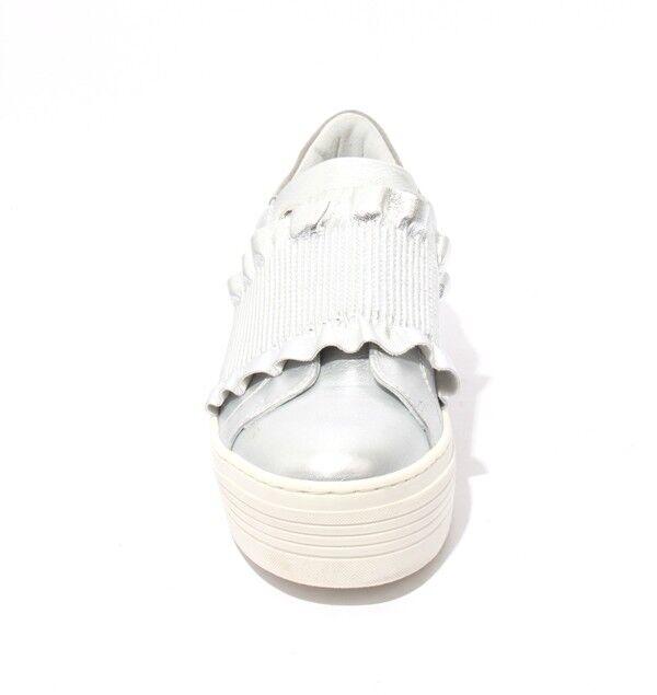 Mally 6174 Plata blancoo Cuero De Elástico Zapatos De Cuero Plataforma 41 US 11 489681
