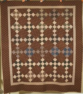 HANDSOME Vintage 1870's 9-Patch on Point Antique Quilt ~Early Brown Fabrics!