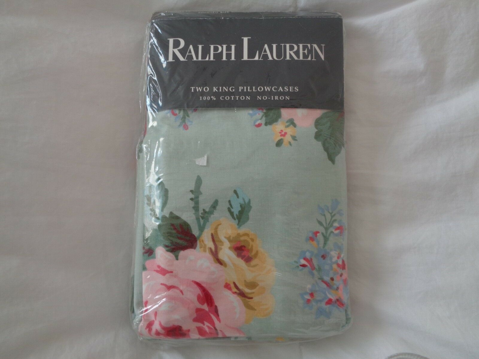 NEW NWT VINTAGE RALPH LAUREN 2 KING PILLOWCASES COTTAGE GREEN FLORAL pink RARE