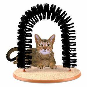 Cat-amp-Kitten-Pet-Grooming-Arch-Scratching-Post-Massage-Self-Brush-Groomer-Nip