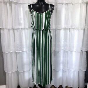 Large WomansNWT JON & ANNA Green Striped Maxi Dress