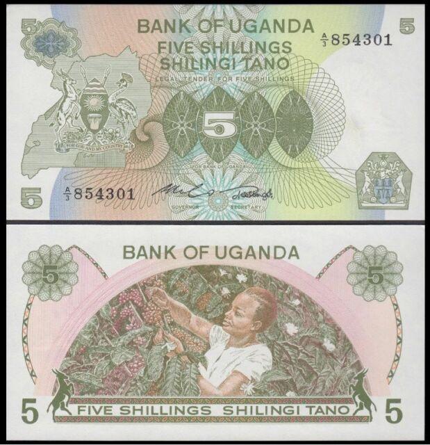 Uganda 5 Shillings P15 UNC 1982 Banknote Paper Money