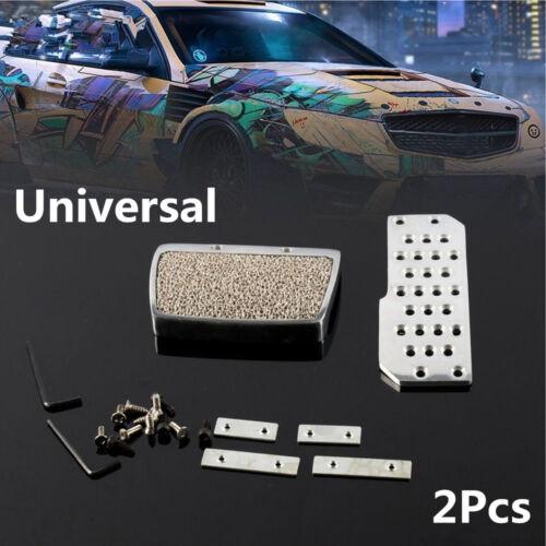 2x Car Silver Polished Aluminum Automatic Gas Brake Non Slip MAT Pedal Cover Set