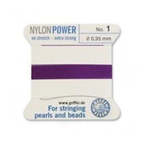 AMETHYST PURPLE NYLON POWER SILKY THREAD 0.35mm STRINGING PEARLS BEADS GRIFFIN 1