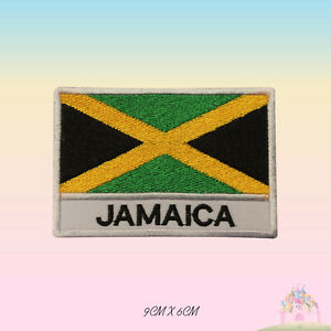 Jamaica-National-Flag-With-Name-Embroidered-Iron-On-Patch-Sew-On-Badge