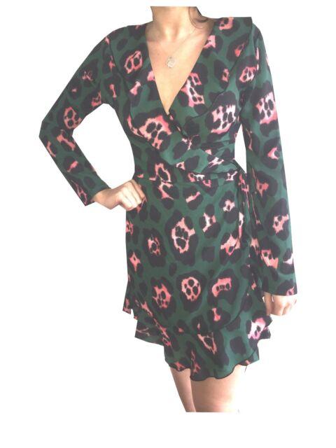 d01e1b2788d animal print green dress wrap front frill john zack