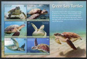 St Vincent & Grenadines 2018 Neuf Sans Charnière Vert Tortues De Mer 6 V M/s Tortue Reptiles Timbres-afficher Le Titre D'origine Quell Summer Soif