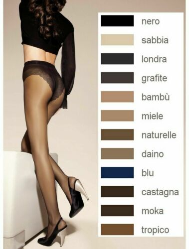 SISI Style 40  Grafite 3-M silky sheer tights  with embroidered body