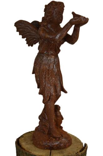 Schöne Elfe mit Vogel Gusseisen Garten Skulptur Dekoration Figur Rost 50 cm!
