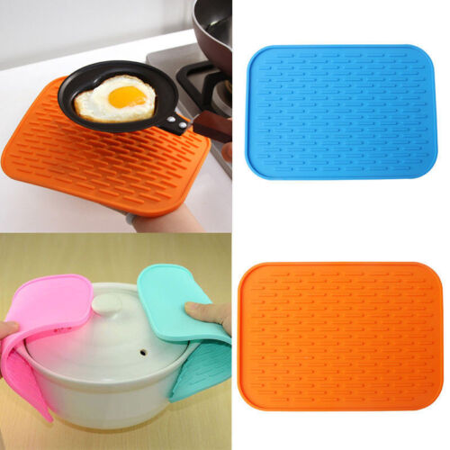 Rectangle Heat Resistant Non-slip Trivet Pot Pan Holder Silicone Mat Pad 9UK
