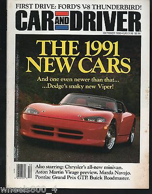 Car and Driver October 1990 Dodge Viper, Chrysler Minivan, Aston Martin Virage