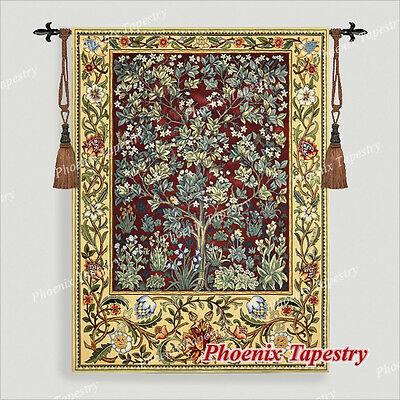 "SMALL William Morris Tree of Life Tapestry Wall Hanging, RUBY, 35""x27"", US"