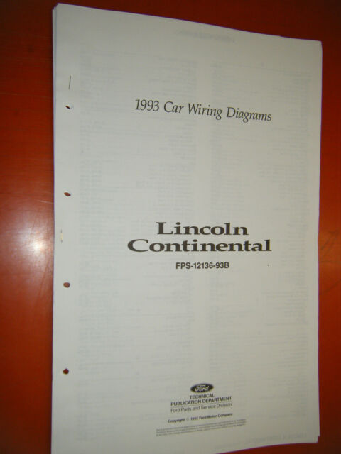 1993 Lincoln Continental Original Factory Wiring Diagrams